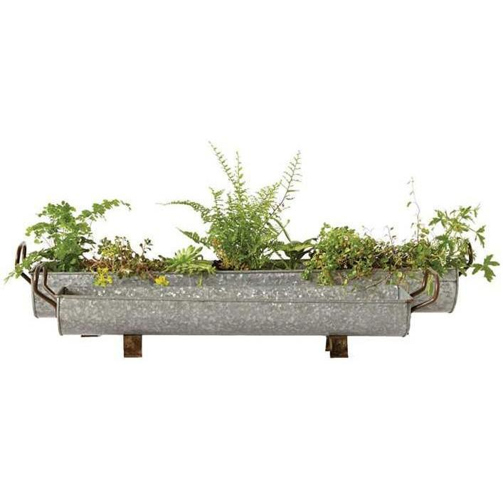 Galvanized Metal Footed Planter