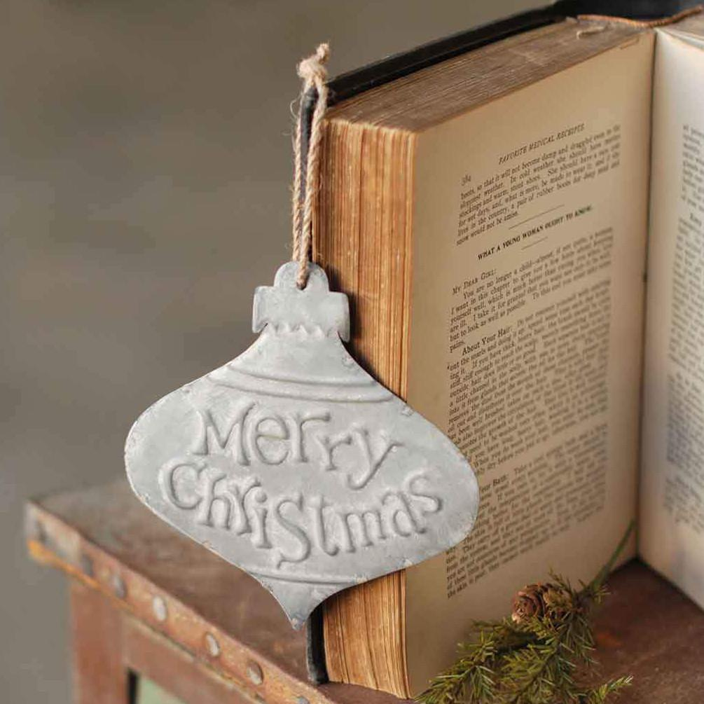 Galvanized Metal Merry Christmas Ornament