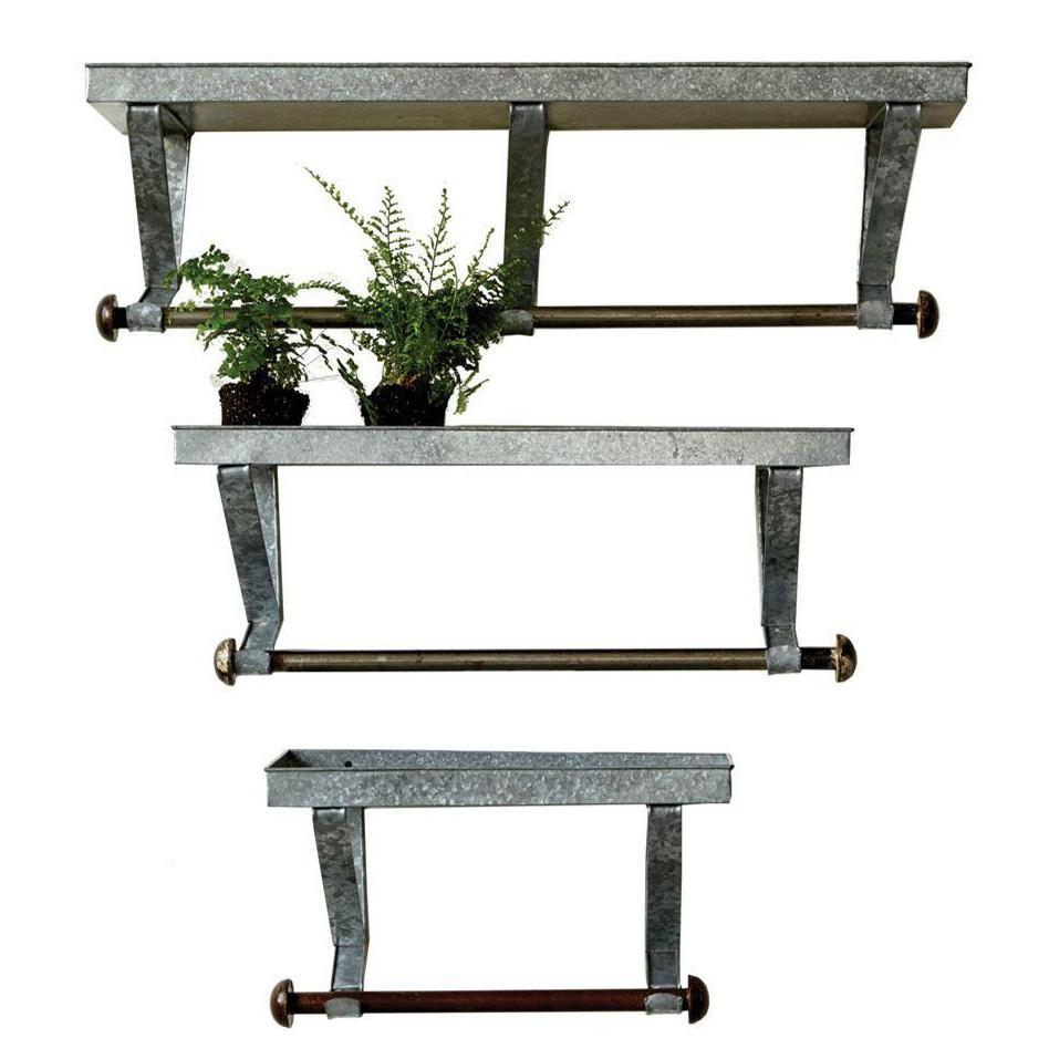 Galvanized Metal Shelf With Hanging Rod-Decor-A Cottage in the City