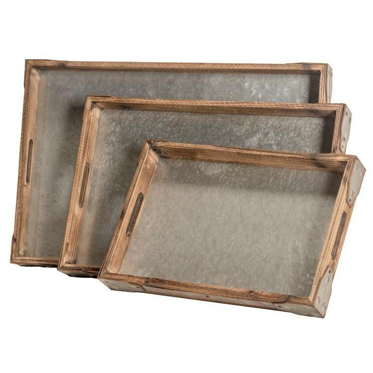 Galvanized Metal Wood Tray-Storage-Small-A Cottage in the City