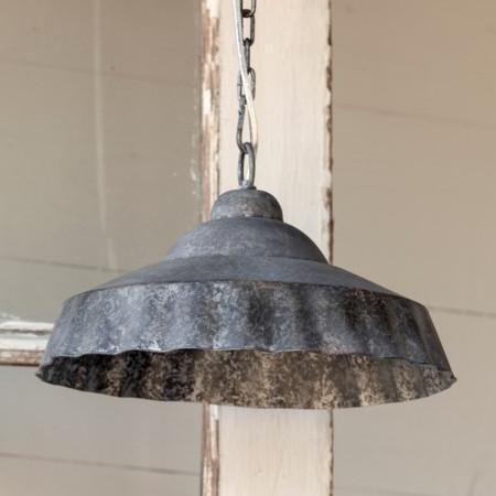 Galvanized Ruffled Pendant Light