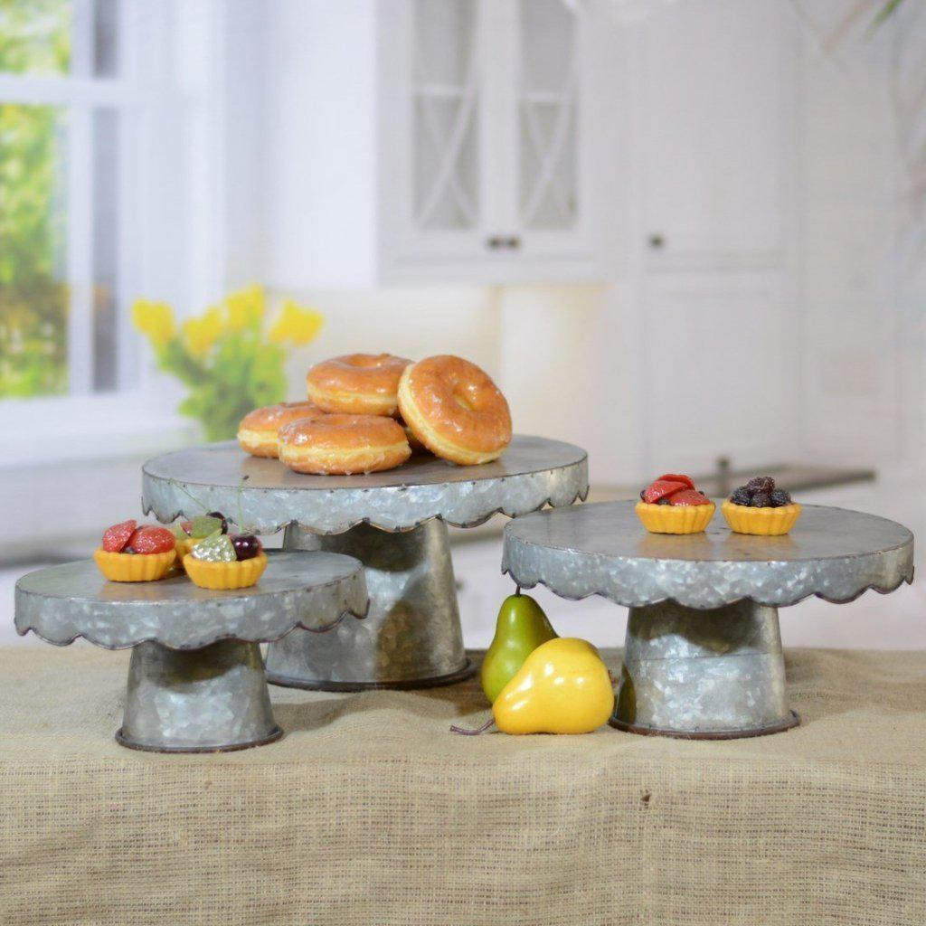 Galvanized Scalloped Cake Stand-Decor-A Cottage in the City