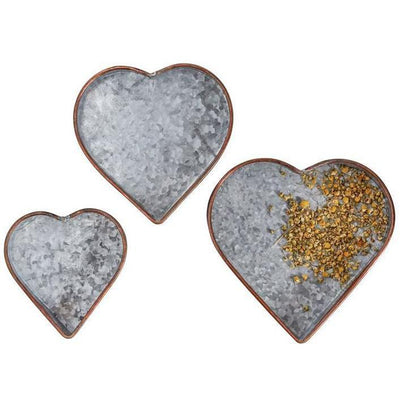 Galvanized With Copper Rim Heart Tray Set-Decor-A Cottage in the City