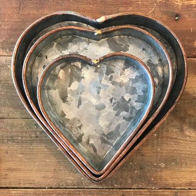 Galvanized With Copper Rim Heart Tray Set