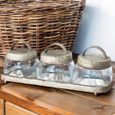 Glass Jars With Galvanized Lids Tray Set