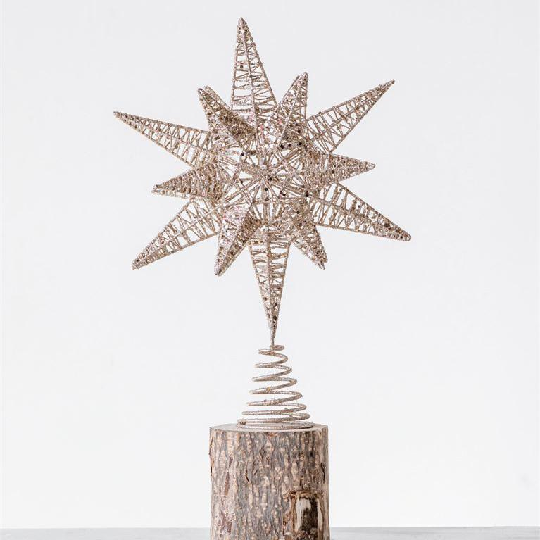 Glittered Gold Metal Tree Topper-Seasonal-A Cottage in the City