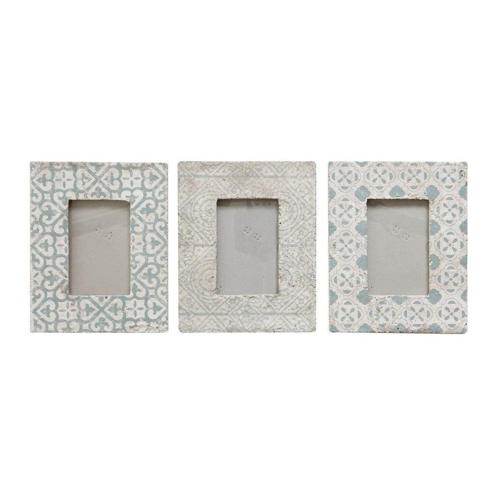 Grey Patterned Cement Frame-Decor-A Cottage in the City