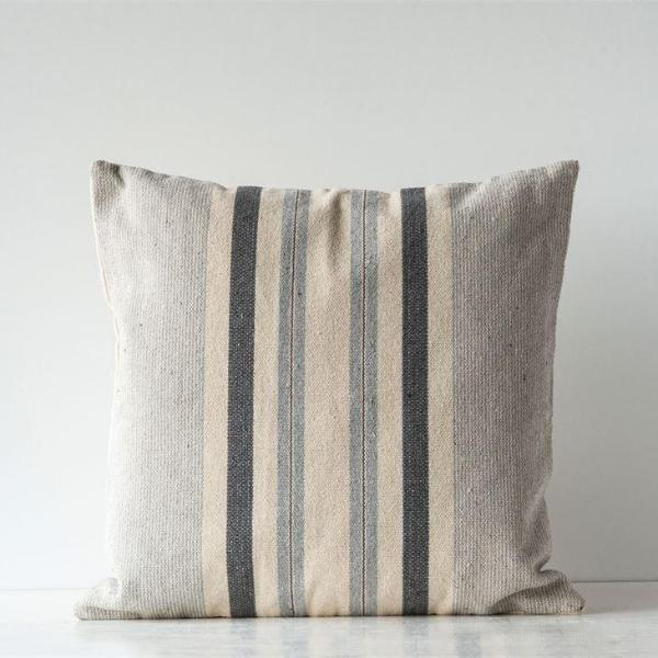 Grey Striped Pillow-Decor-A Cottage in the City