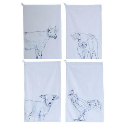 Hand Drawn Farm Animal Dishtowel