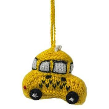 Hand Knit Taxi Ornament