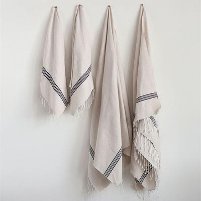 Hand Loomed Farmhouse Cotton Bath Hand Towel With Fringe
