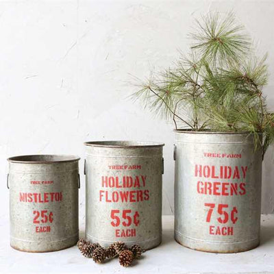 Holiday Greens Galvanized Metal Buckets