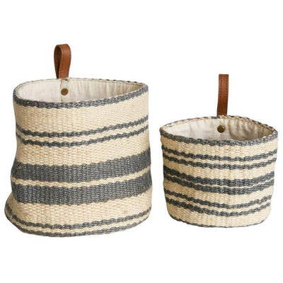 Jute Grey Striped Basket With Leather Handle
