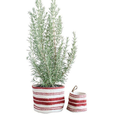 Jute Red Striped Basket With Leather Handle