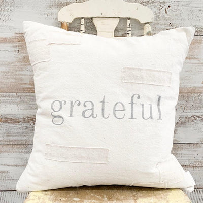 Grateful Patched Pillow Cover