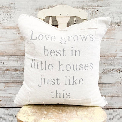 Love Grows Best Patched Pillow