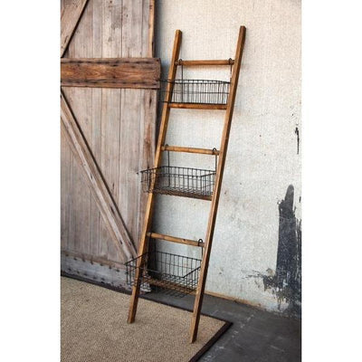Ladder with Wire Baskets