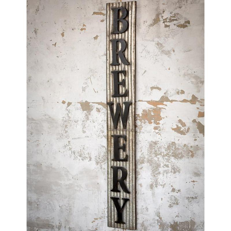 Large Corrugated Distressed Metal Brewery Sign-Decor-A Cottage in the City