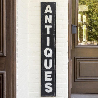Large Embossed Metal Antiques Sign