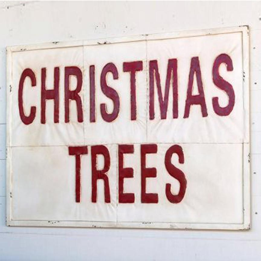 Large Embossed Metal Christmas Trees Sign
