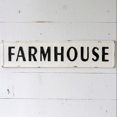 Large Embossed Metal Farmhouse Sign