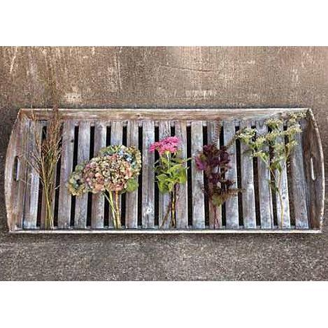 Large Reclaimed Wood Slat Tray