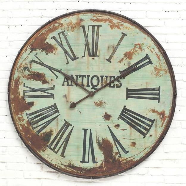 Large Rusty Metal Green Wall Clock-Decor-A Cottage in the City