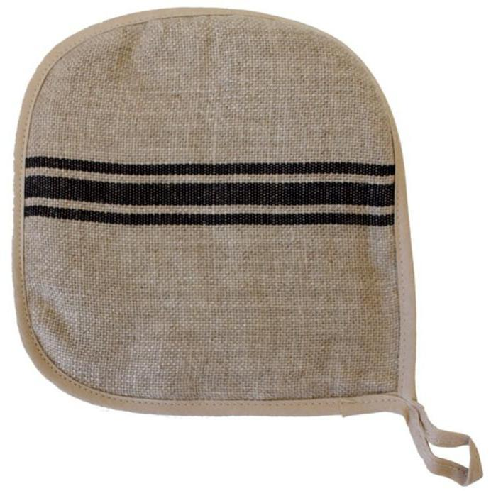 Linen Black Stripe Potholder-Tabletop-A Cottage in the City