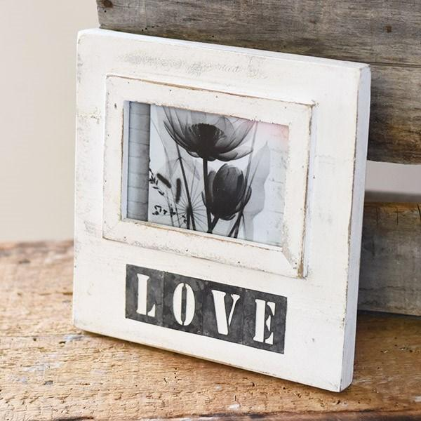 Love Metal & Wood White Frame-Decor-PD Home-A Cottage in the City