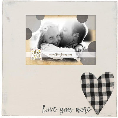 Love You More Plaid Heart Wood Frame