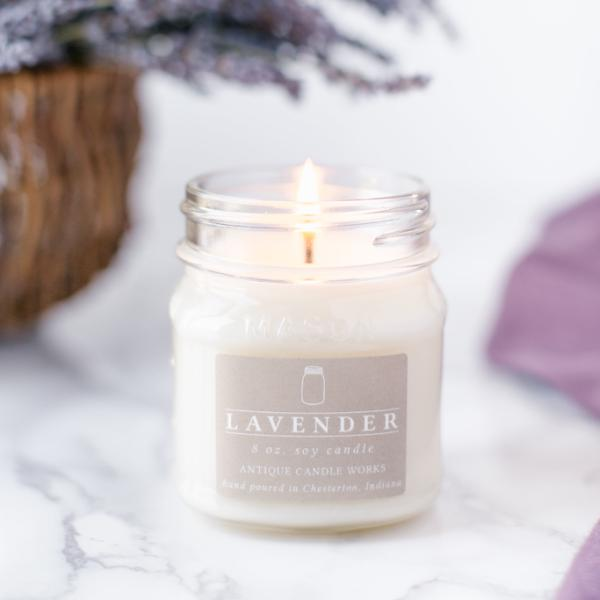 Mason Jar Lavender Candle 8oz-Decor-A Cottage in the City