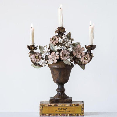 Metal Candelabra With Tole Flowers in Urn