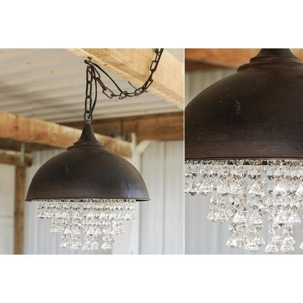 Metal Chandelier With Crystals-Furniture-A Cottage in the City