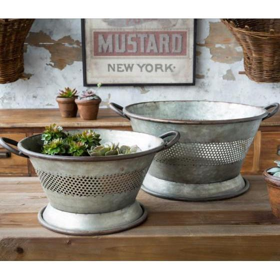 Metal Colander Planter-Seasonal-Small-A Cottage in the City