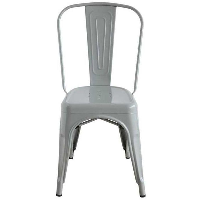 Grey Metal Dining Chair-Furniture-A Cottage in the City