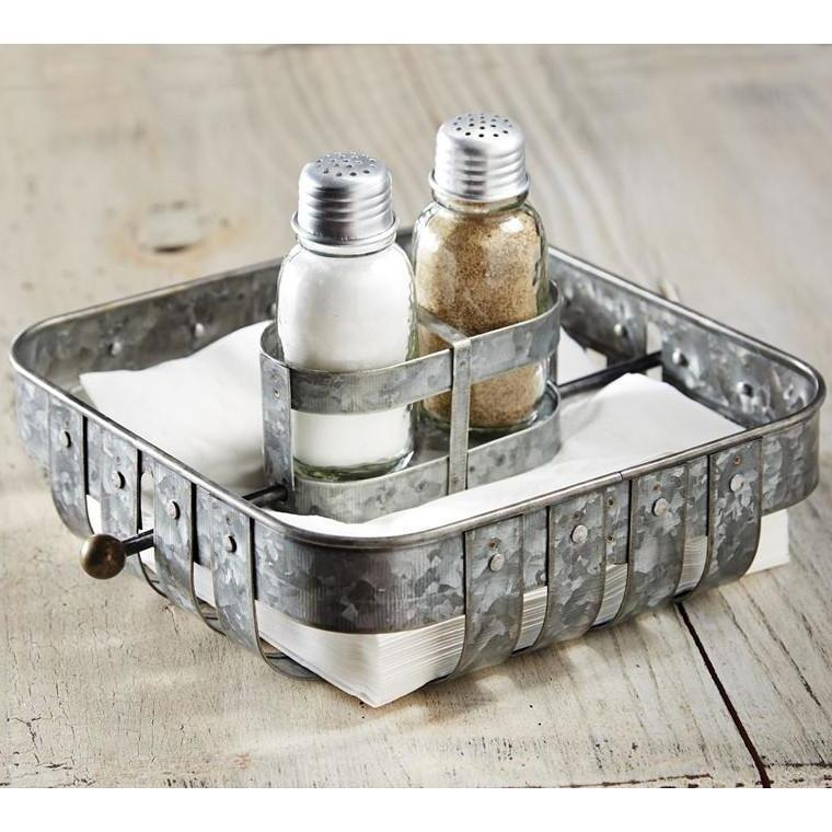 Metal Napkin Holder With Salt & Pepper Set