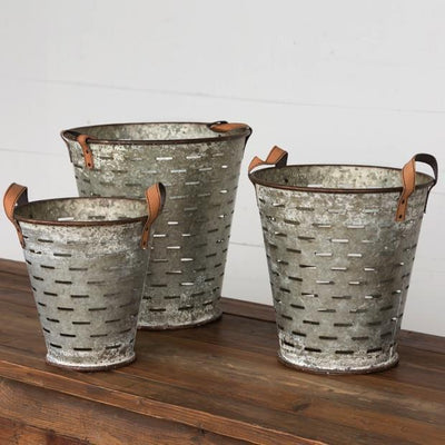 Metal Olive Bucket With Leather Handles