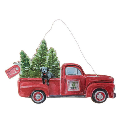 Metal Truck with Dog Wall Hanging Ornament