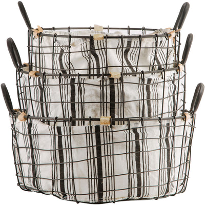 Metal Wire Basket With Black Ticking Stripe Liner-Storage-A Cottage in the City