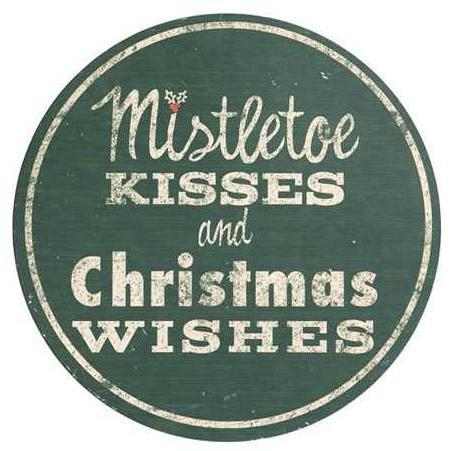 Mistletoe Kisses Wood Sign