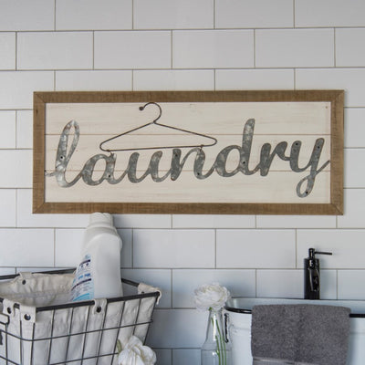 Metal & Wood Laundry Sign