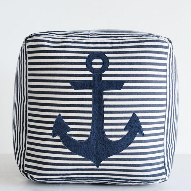 Navy Striped Anchor Ottoman-Decor-A Cottage in the City