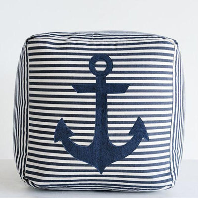 Navy Striped Anchor Ottoman
