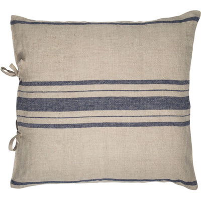 Navy Striped Linen Pillow