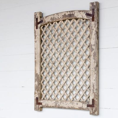 Old White Framed Lattice Panel