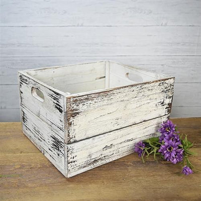 Old White Wood Crate