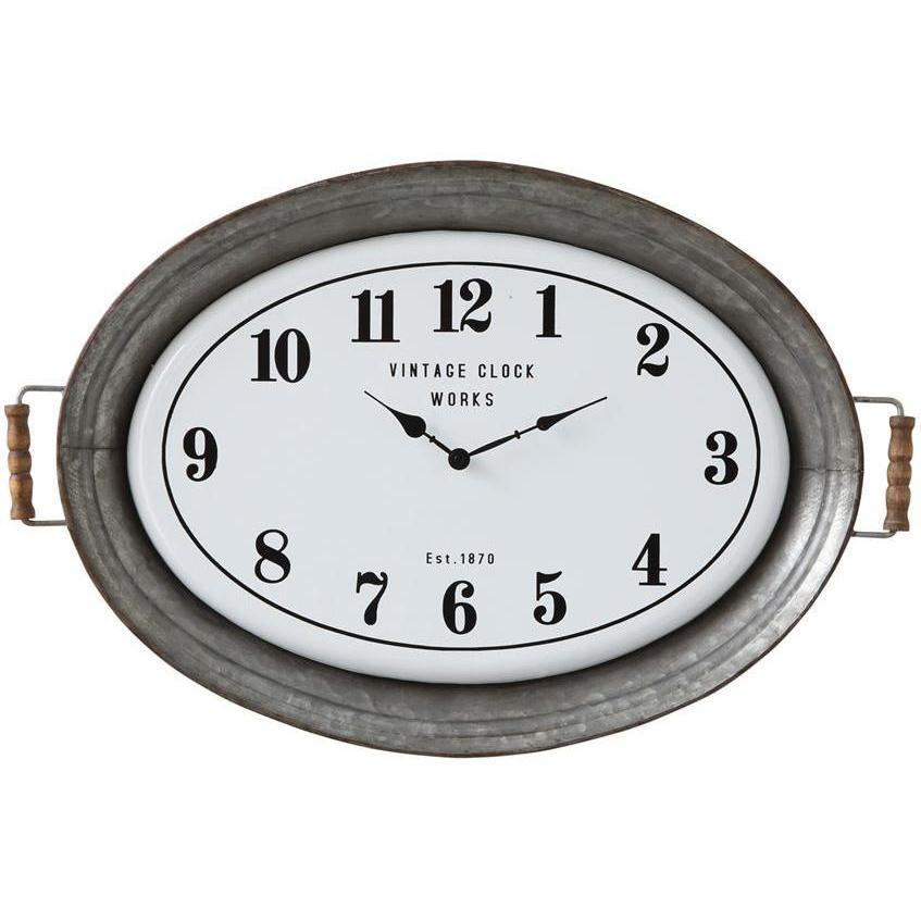Oval Metal Tray Wall Clock-Decor-A Cottage in the City