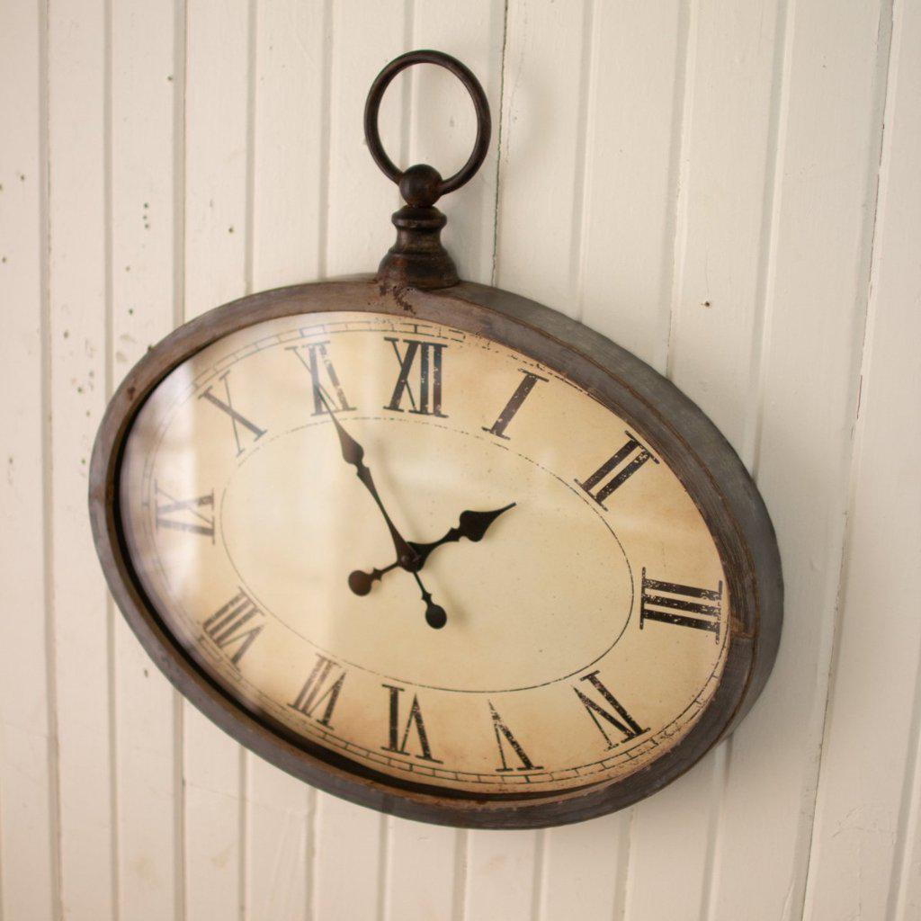 Oval Metal Wall Clock-Decor-Kalalou-A Cottage in the City