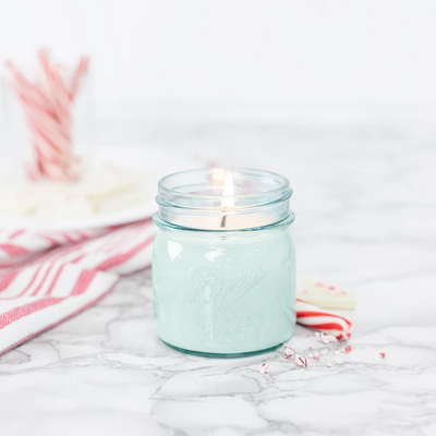 Blue Mason Jar Peppermint Candle 8oz