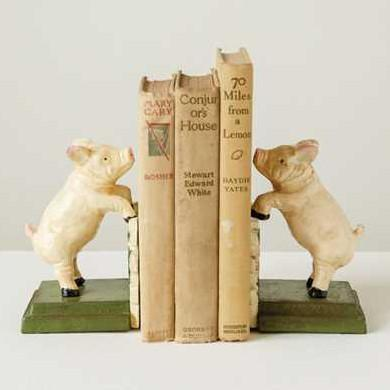 Piglets On A Fence Bookends